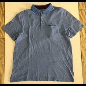 TED BAKER London Blue White Polo Sz 7 USA Sz 3XL